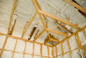 Newly insulated room. spray foam insulation